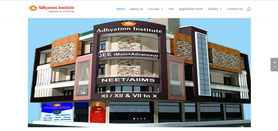 Aadhyatm Institute Website Project Developed By MyWebApp Software And Analytics,, Providing Software Development, Website Development And Android Development Services in kota City Rajasthan