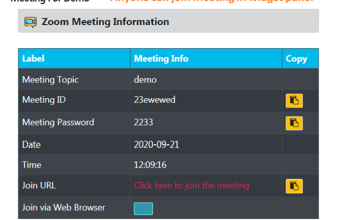 Shortcode - View of meeting information with setting - Meeting Any one can join