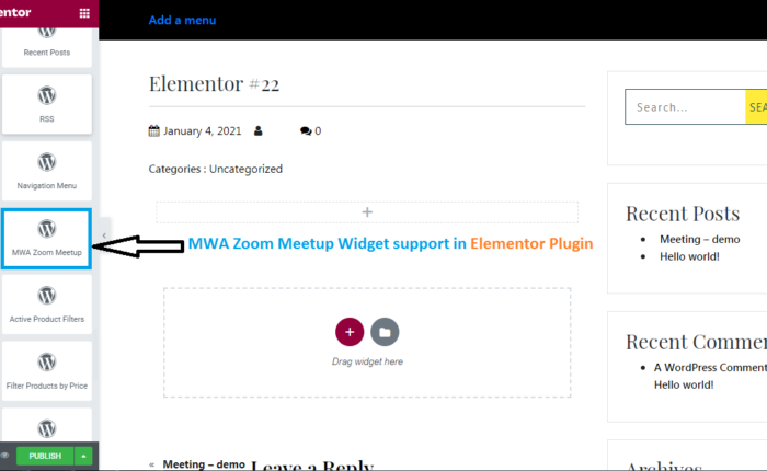 Manage Zoom Meeting in Elementor Plugin with support of widget