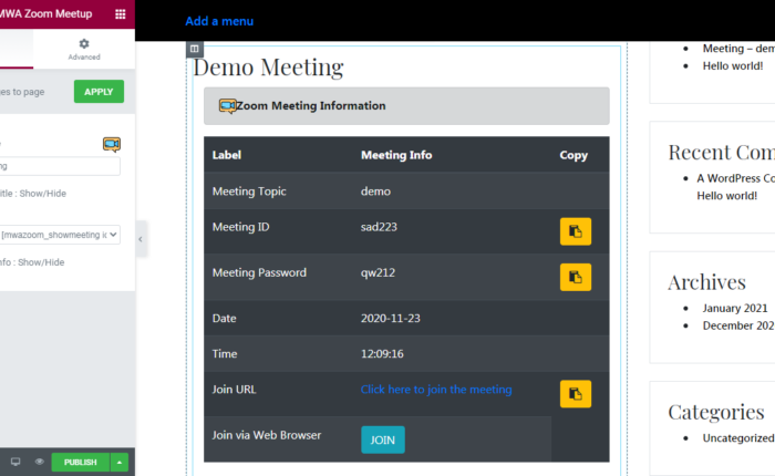 Drag and drop the meeting in Elementor Plugin