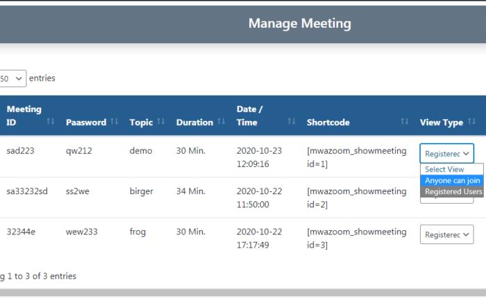 Manage Meeting ( Meeting List )