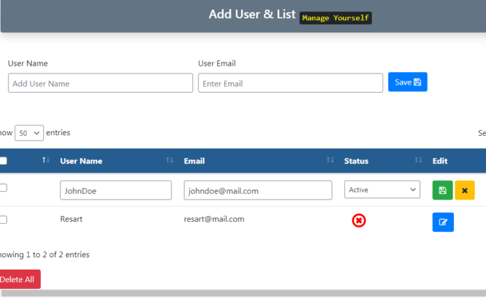 Add User and list ( Manage Users settings- with status block and enabled to specific users )